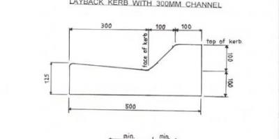 Layback kerb with 300mm channel. Please contact office@ikc.co.nz for a .pdf of this profile