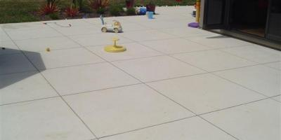 Patio cut into large squares