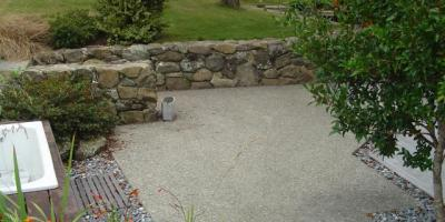 Exposed aggregate courtyard